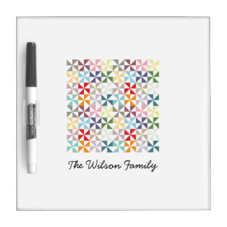 Personalized Colorful Geometric Pinwheel Dry Erase Boards