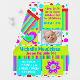 Personalized colorful girly birth announcement baby blanket