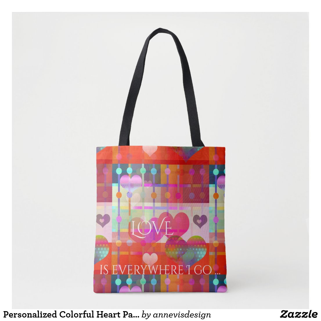 Personalized Colorful Heart Pattern Bag