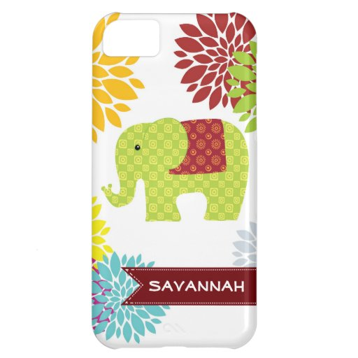 Personalized Colorful Hippie Elephant Flower Case iPhone 5C Cover