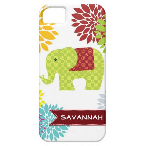 Personalized Colorful Hippie Elephant Flower Case iPhone 5 Case