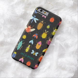 PERSONALIZED COLORFUL INSECT BUGS BLACK LINEN BARELY THERE iPhone 6 CASE