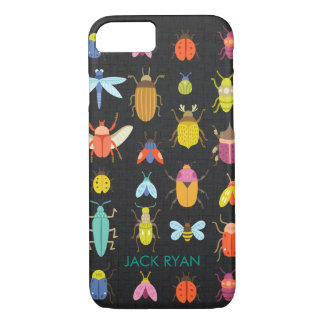 PERSONALIZED COLORFUL INSECT BUGS BLACK LINEN iPhone 8/7 CASE