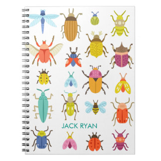 PERSONALIZED COLORFUL INSECT BUGS NOTEBOOK