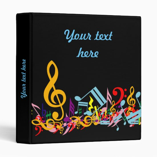 Personalized Colorful Jumbled Music Notes on Black 3 Ring Binder