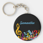 Personalized Colorful Jumbled Music Notes on Black Basic Round Button Keychain