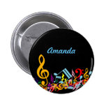 Personalized Colorful Jumbled Music Notes on Black Button