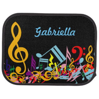 Personalized Colorful Jumbled Music Notes on Black Car Mat
