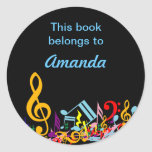 Personalized Colorful Jumbled Music Notes on Black Classic Round Sticker