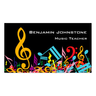 Personalized Colorful Jumbled Music Notes on Black Double-Sided Standard Business Cards (Pack Of 100)