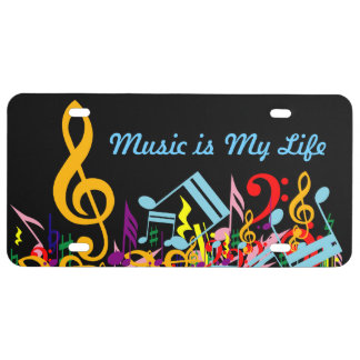Personalized Colorful Jumbled Music Notes on Black License Plate