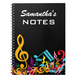 Personalized Colorful Jumbled Music Notes on Black Spiral Note Books