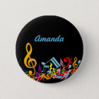Personalized Colorful Jumbled Music Notes on Black Pinback Button