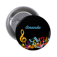 Personalized Colorful Jumbled Music Notes On Black Pinback Button at Zazzle