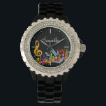 """Personalized Colorful Jumbled Music Notes on Black Watch<br><div class=""""desc"""">An ideal gift for the music lover or musician with a design featuring jumbled musical notes and large treble clef in the colors of the rainbow. Easy to customize by adding your own text. Contact us through our GiftsBonanza store prior to purchase if you would like this is in alternative...</div>"""