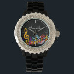 "Personalized Colorful Jumbled Music Notes on Black Watch<br><div class=""desc"">An ideal gift for the music lover or musician with a design featuring jumbled musical notes and large treble clef in the colors of the rainbow. Easy to customize by adding your own text. Contact us through our GiftsBonanza store prior to purchase if you would like this is in alternative...</div>"