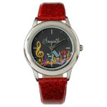Personalized Colorful Jumbled Music Notes on Black Wristwatches