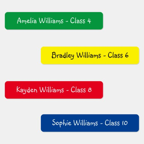 Personalized Colorful Kids Back To School Clothes Labels
