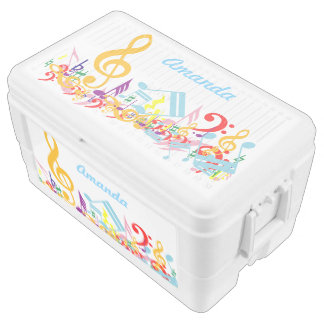 Personalized Colorful Musical Notes Ice Chest