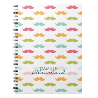 Personalized Colorful Mustache Lovers Notebook