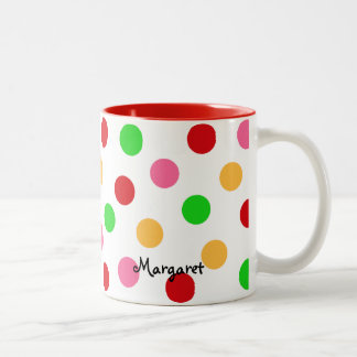 Personalized Colorful Polka Dot Pattern Two-Tone Coffee Mug
