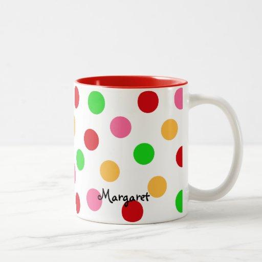 Personalized Colorful Polka Dot Pattern Two-Tone Coffee Mug