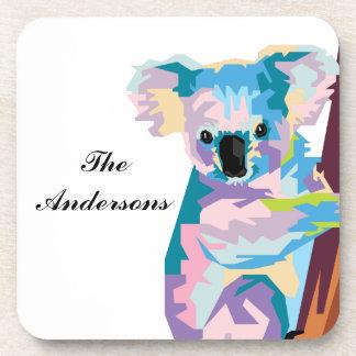 Personalized Colorful Pop Art Koala Beverage Coaster