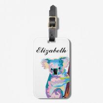 Personalized Colorful Pop Art Koala Luggage Tag