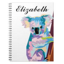 Personalized Colorful Pop Art Koala Notebook