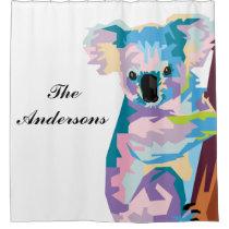 Personalized Colorful Pop Art Koala Shower Curtain