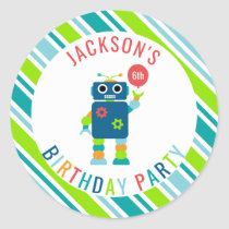 Personalized Colorful Robot Birthday Party Kids Classic Round Sticker