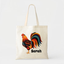 Personalized Colorful Rooster Farm Tote Bag
