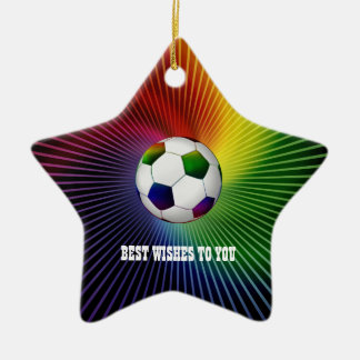 Personalized Colorful Soccer | Football Ceramic Ornament