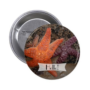 Beach Themed Personalized Colorful Starfish/Sea Star Photo 1 Pinback Button
