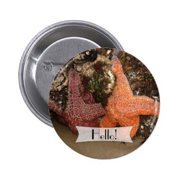 Beach Themed Personalized Colorful Starfish/Sea Star Photo 3 Pinback Button