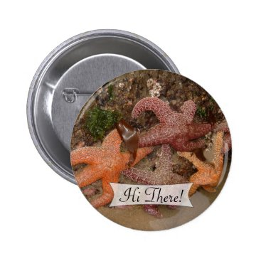 Beach Themed Personalized Colorful Starfish/Sea Star Photo 4 Pinback Button