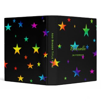 Personalized: Colorful Stars Binder binder