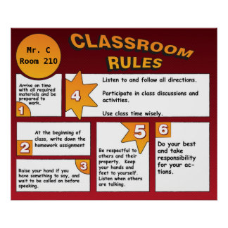 Personalized Comic Book Classroom Rules Poster