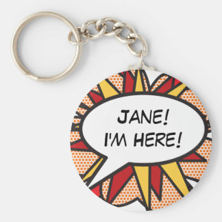 """Personalized Comic Book Pop Art """"I'm Here"""" Basic Round Button Keychain"""