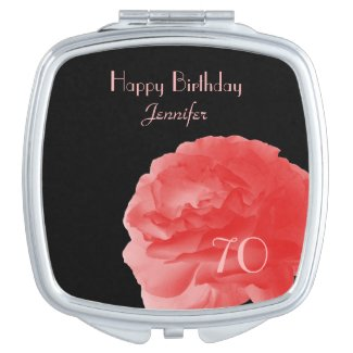 Personalized Compact Mirror Coral Rose 70th Bday