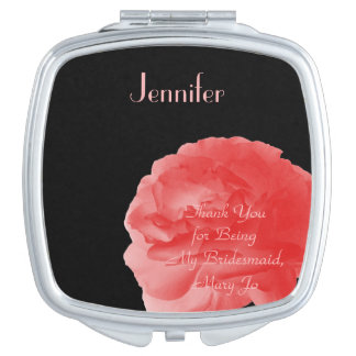 Personalized Compact Mirror Coral Rose Bridesmaid Vanity Mirrors