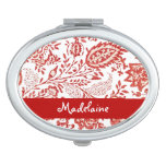 Personalized Compact - red floral vintage art Travel Mirror