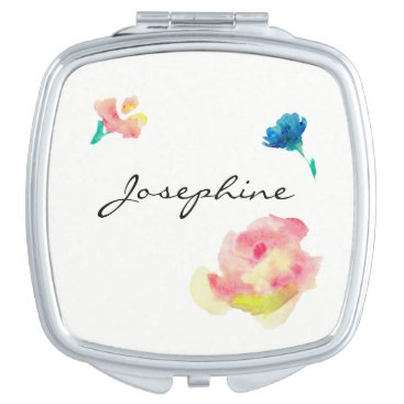 Beach Themed Personalized compact with name, flower paintings mirror for makeup