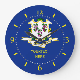 Personalized Connecticut State Flag Design on Large Clock