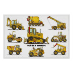 Personalized Construction Equipment Poster