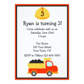 Personalized Construction Party Invitation