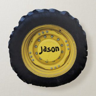 Personalized Construction Tire Round Pillow