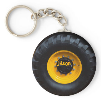 Personalized Construction Tractor Wheel Keychain
