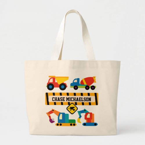Personalized Construction Vehicles Tote Bag