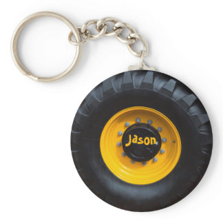 Personalized Construction Wheel Keychain